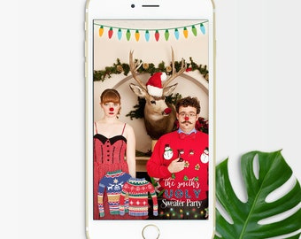 Snapchat Filter Christmas, Christmas Geofilter, Ugly Christmas Sweater Party, Holiday Geofilter, Snapchat Filter, Xmas Snapchat Geofilter