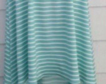 Hi low maxi skirt green and white stripe waist 36