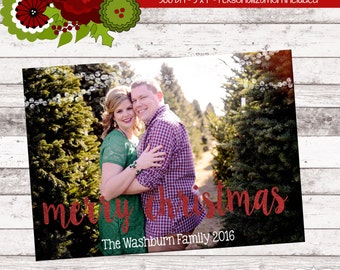 PERSONALIZED CHRISTMAS CARD: Merry Christmas Photo Christmas Card