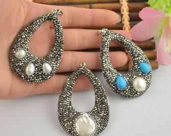 5PCS Nature Pearl & Turquoise Pendant Rhinestone Crystal Pave Teardrop Gems Pendant Women Fine Jewelry