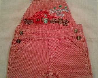 ON SALE Baby Boy's Wrangler Overall Shorts Barnyard Boy 3-6 Month