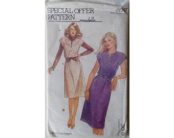 UNCUT Vintage 70's Maudella S017 Sewing Pattern Cap Sleeve Tunic Dress 5 Sizes