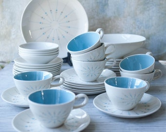 29 Piece Mid Century Modern Knowles Pinwheel Four Seasons Dish Set, Erwin Kalla Design Blue Gray Atomic Plates, Cups, Saucers, Serving Bowl