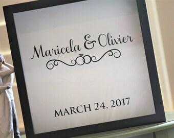 DECAL - Wedding Rings, Personalized, Custom Wedding Decal, Shadow Box Card Holder, Wedding Guest Book