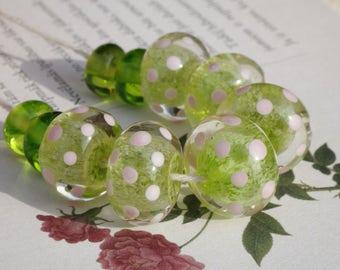 Lampwork glass bead set, pink green polka dot bead lampwork beads lampwork glass artisan glass beads transparent pink lampwork sra glass