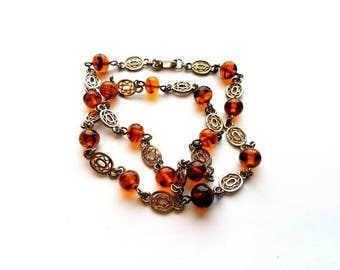 Vintage Gold and Silver Filigree Links with Amber Glass Beads Necklace