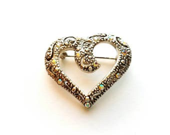 Vintage AAI Signed Silver Heart with AB Crystal Rhinestones Pin Brooch