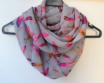Grey Chiffon Infinity Scarf with Pink, Blue and Yellow Bird Feather Print, Summer Fashion, Women Accessories, Spring, Summer, Fall