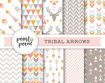Arrows Tribal Digital Papers Pink Orange Mint Beige Taupe Printable Papers Arrows Triangles Chevron Antlers Deer Hipster