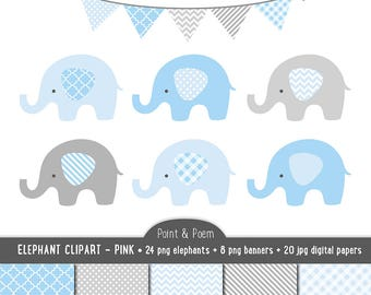 Elephant Clip Art, Digital Papers, Blue Baby clipart, Blue & Gray Baby Shower, Baby Boy, 32 PNG - Commercial Use