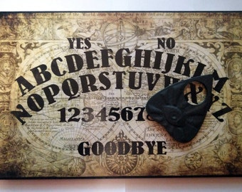 A4 Hand Finished Wooden Olde Worlde Talking Board Set Complete with All-Seeing Eye Planchette, Classic Ouija Style Board, Vintage, Retro