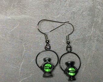 DC Green Lantern superhero earrings