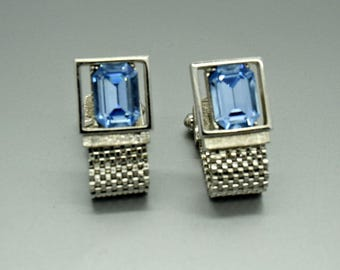 Vintage Blue and Silver Cuff Links