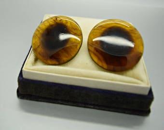 Vintage Brown Pierced Button Earrings