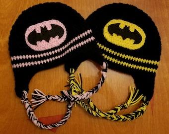 Crochet Batman or Batgirl Hat/ any size
