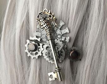 Mermaid Key Steampunk Hair Accessories - Skeleton Key Hair Clip - Skeleton Key Jewelry - Steam Punk -  Hair Accessory Women - Mermaid Hair