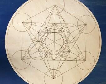 "8"" Metatron Sacred Geometry wood Crystal Grid - Healing Crystal Reiki metaphysical"