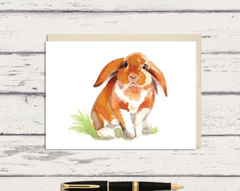 Orange Bunny Rabbit 5 x 7 Watercolor Greeting Card/ A7 Greeting Card / Watercolor Bunny / Bunny Card / Easter Card / woodland animal