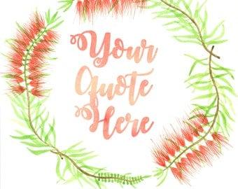 Personalised Australian bottle brush wreath, giclée print, wall art quote, wall art print