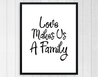 PRINTABLE ART, Love Makes Us Family, Motivational Poster, Inspirational Quote, Black and White, Wall Art, Typography Art, Family Art