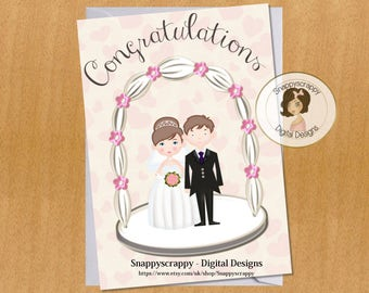 Wedding Day, Printable Card Toppers, Print Your Own Wedding Day Card Topper/Card Front