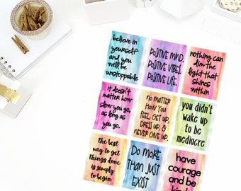 Watercolor Life #1 Quotes Stickers! Perfect for your Erin Condren Life Planner, calendar, Paper Plum, Filofax!