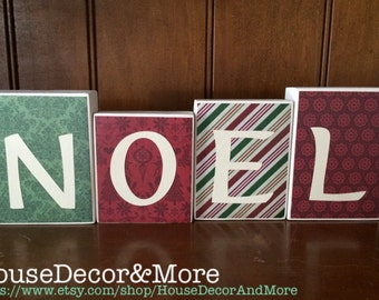 Noel wooden christmas blocks/Christmas season wood blocks/Christmas shelf decor/Christmas mantel decor/Noel Blocks/Rustic Wooden Noel Blocks