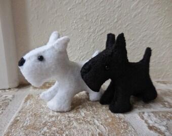 Scottish Terrier, Scottie dog, black Scottie, white Scottie, felt dog, white dog, black dog, stuffed animal, soft toy