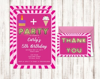 Cake and Ice Cream Birthday Invitation in Pink -  Free Thank You Cards Included - Instant Download Birthday Invitation Templates