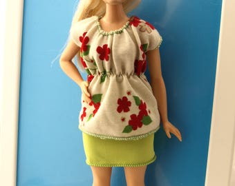 Free shipping! Curvy doll clothes - suit, stretch, NO VELCRO
