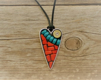Shot through the Heart Mosaic Pendant, Stained Glass Pendant, Wearable Art
