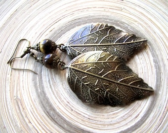 Earrings fall foliage leaves Tiger eye in XXL