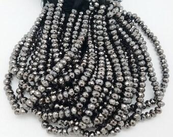 6  mm , Black Rhodium Pyrite Rondelle , 8 Inch