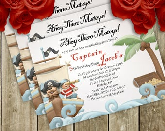 Land Ho Pirate Birthday Party Invitation