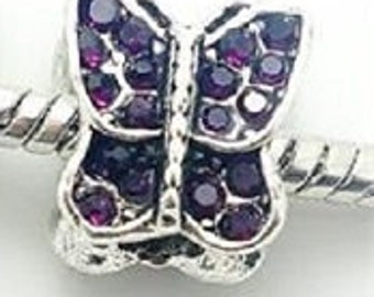 European AMETHYST CRYSTAL BUTTERFLY Charm Bead Made To Wear In Any Direction  Large Hole / Pandora / European / Bracelet February Birthstone
