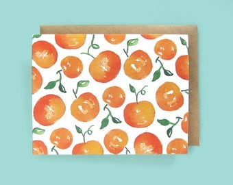 Greeting Card, Stationery, Clementines, Orange, Food Themed