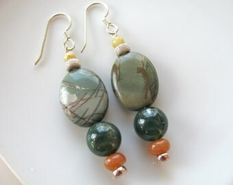Earrings, drop earrings, Jasper, Carnelian, Jade and sterling silver, 1 and 3 qtr inch B-1633