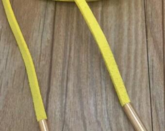 Yellow Velvet Choker Long Necklace