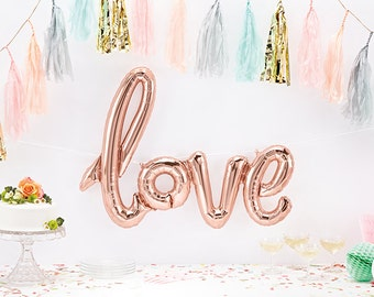 "40"" Giant LOVE Balloon, Script Balloon, Rose Gold Balloon, Rose Gold Party, Rose Gold Wedding, Balloon Prop, Valentines Day, Balloon Banner"
