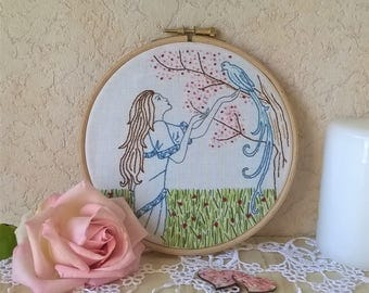embroidery hoop wall art - Lady Bird - traditional embroidery wall art -  wall decor for nursery - embroidered wall hanging