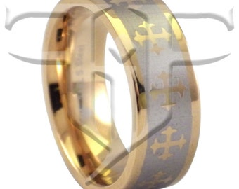 Knights Templar Ring | Gold Stainless Steel Cross Ring | Crucifix Band | Classic Casual Rings Size 5-17