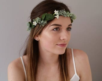 White silk flower crown Floral crown Headband Hairband Bridal hair wreath Wedding hair accessories Hair flowers Headdress Flower girl Boho
