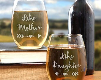 "Just ""Like"" Custom Stemless Wine Glass Set, Engraved Personalized Stemless Wine Glasses, Engraved Like & Like Wine Glass Set"