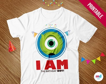 Monster Inc T-Shirt Birthday Boy, Monster Inc Birthday Party Theme Favor, Printables, Candy Bar, Transfer, Monster Inc, INSTANT DOWNLOAD