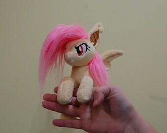 Flutterbat MLP plushie [sitting micro-pony handmade minky my little pony plush toy]
