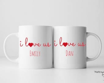 I love us mug set, custom mug set, gift for couples, engagement gift, valentines gift, wedding gift, anniversary gift, love, couples, mugs