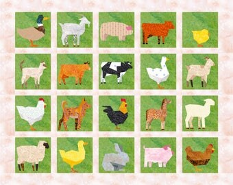 20 Farm Animals Quilt Block Patterns, Cows, Sheep, Chickens - Foundation Paper Piece Patch - PDF Download