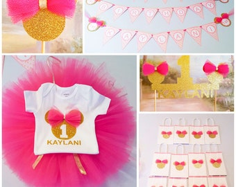 Minnie mouse party decorations etsy for 1st birthday decoration packages