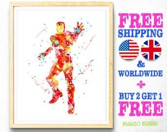 Iron Man Avengers Superhero Watercolor Art Print - Watercolor Painting - Home Decor - Wall Art - Nursery Decor - Kids Deco - 97
