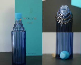Lalique for  Je Reviens Worth Skyscraper Perfume Bottle Cobalt Blue in Box Never Filled Vintage